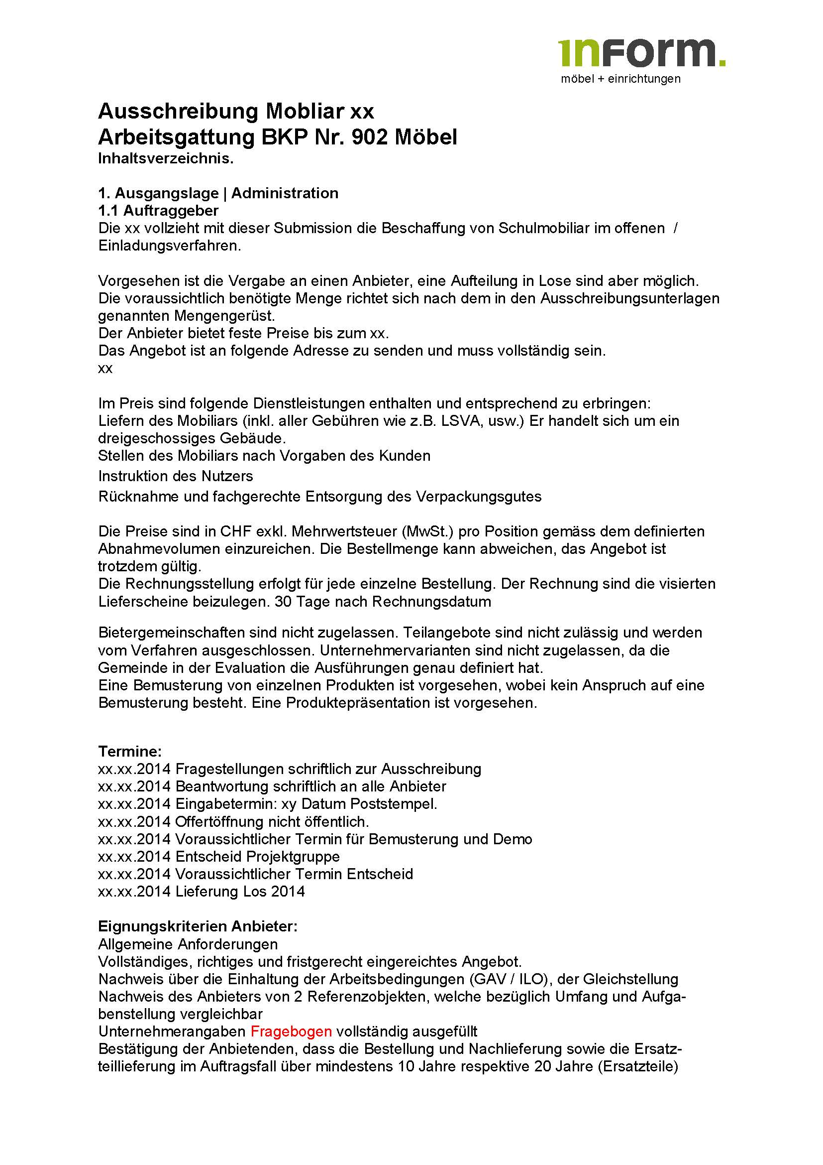 Ausschreibung Mobliar Bsp. Seite 1
